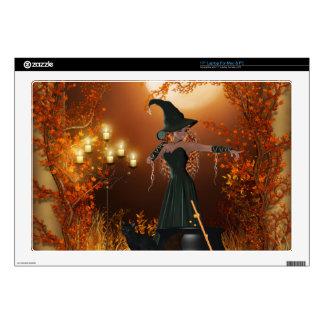 "Autumn Halloween Witch 17"" Laptop Skin"