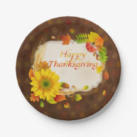Autumn Happy Thanksgiving Paper Plates 7 Inch Paper Plate