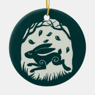 Autumn Hare Woodcut Double-Sided Ceramic Round Christmas Ornament