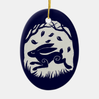 Autumn Hare Woodcut Double-Sided Oval Ceramic Christmas Ornament