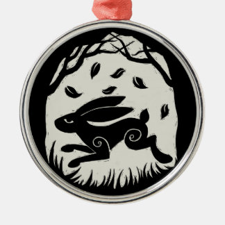 Autumn Hare Woodcut Round Metal Christmas Ornament