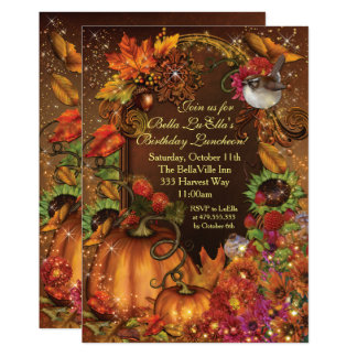 Autumn Harvest Birthday Celebration Invitations