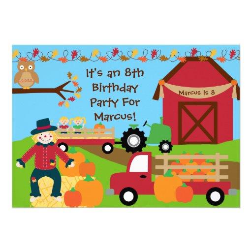 Autumn Harvest Birthday Party Invitation