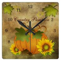 Autumn Harvest Country Pumpkin Clock