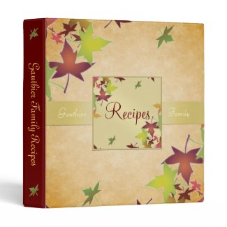 Autumn Harvest Fall Leafs Recipe Cookbook Binder