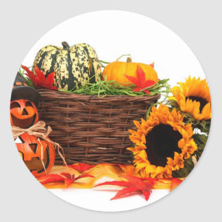 Autumn Harvest Halloween Pumpkins Fall Sunflowers Classic Round Sticker