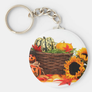 Autumn Harvest Halloween Pumpkins Fall Sunflowers Basic Round Button Keychain