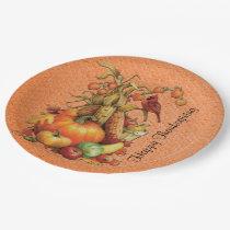 Autumn Harvest Happy Thanksgiving Orange Plates
