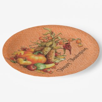 Autumn Harvest Happy Thanksgiving Orange Plates 9 Inch Paper Plate