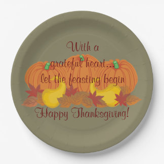 Autumn Harvest Happy Thanksgiving Paper Plate