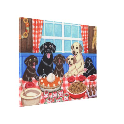 Autumn Harvest Labrador Dining Canvas