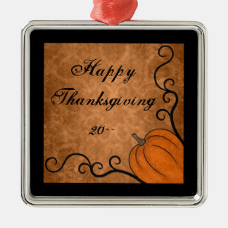 Autumn harvest pumpkin Happy Thanksgiving Metal Ornament