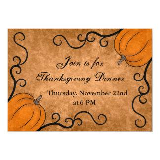 "Autumn harvest pumpkin Thanksgiving dinner 5x7 5"" X 7"" Invitation Card"