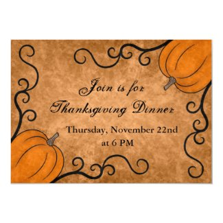 Autumn harvest pumpkin Thanksgiving dinner 5x7 Invite