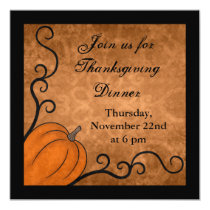 Autumn harvest pumpkin Thanksgiving dinner square Card