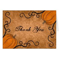 Autumn harvest pumpkin Thanksgiving thank you Card