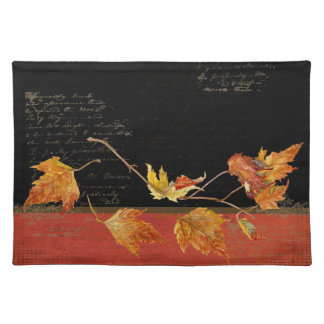 Autumn Harvest Red Maple Falling Leaves Leaf Cloth Placemat