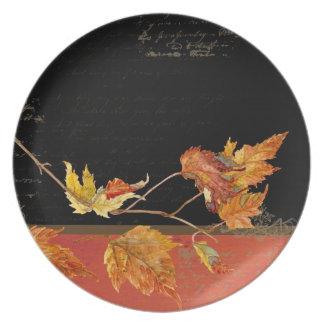 Autumn Harvest Red Maple Falling Leaves Leaf Melamine Plate