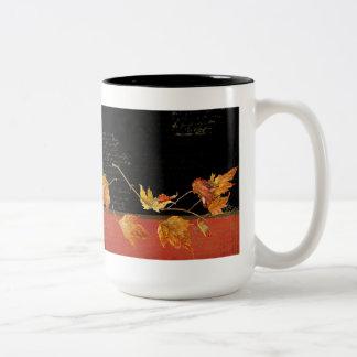 Autumn Harvest Red Maple Falling Leaves Leaf Two-Tone Coffee Mug