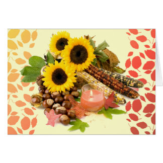 Autumn Harvest Sunflowers Happy Thanksgiving Stationery Note Card