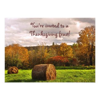 Autumn Hay Harvest Thanksgiving Custom Invites