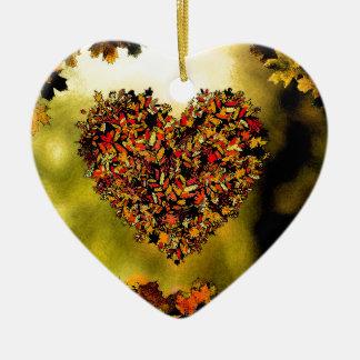 Autumn Heart Ceramic Ornament