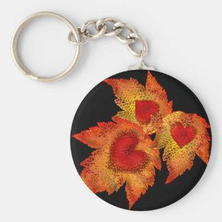 Autumn Hearts Black Keychain