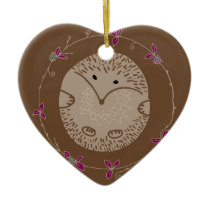 Autumn hedgehog ceramic ornament