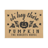 Autumn Hey There Pumpkin Custom Rustic Burlap Fall Doormat