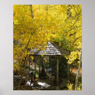 """Autumn Hideaway"", Gazebo, Portrait Poster"