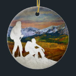"Autumn hike ceramic ornament<br><div class=""desc"">Autumn Hike by Amanda Royale. Adventure: nature,  rock climbing,  hiking and biking,  running,  the love of mud and outdoor sports,  mountains,  big sky,  inspiration,  and getting away from it all.</div>"