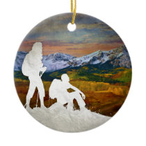 Autumn hike ceramic ornament