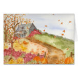 Autumn Home Country Landscape Fall Leaves Pumpkins Greeting Card
