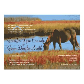 Autumn Horse Rustic Country Wedding Invitations