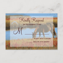 Autumn Horse Rustic Country Wedding RSVP Cards