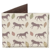 Autumn Horses and Leaves Billfold Wallet