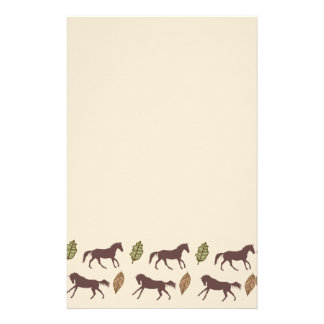 Autumn Horses and Leaves Stationery
