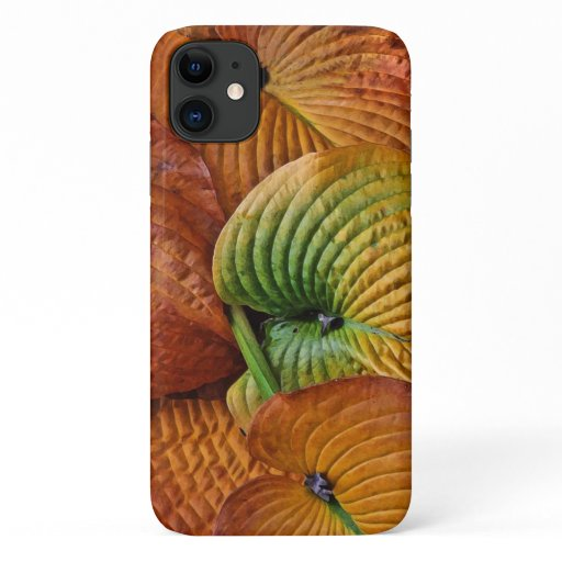 Autumn Hosta Leave Abstract Pattern iPhone 11 Case