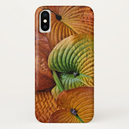Autumn Hosta Leaves Abstract Pattern iPhone X Case