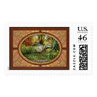 Autumn - House - On the way to grandma s House Postage Stamp