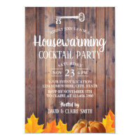 Autumn Housewarming Cocktail Party Elegant Wood Invitation