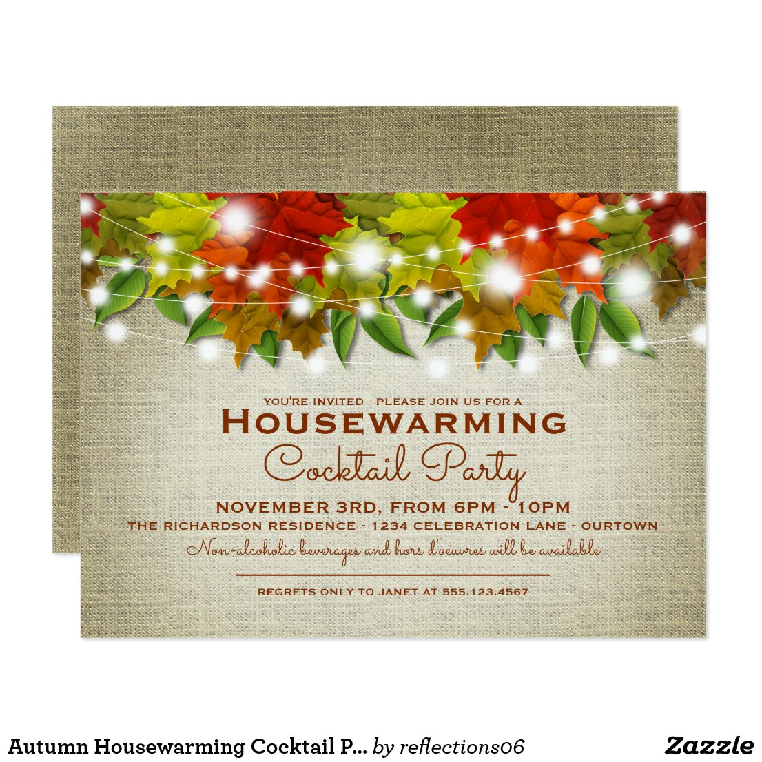 Autumn Housewarming Cocktail Party Invitation