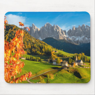 Autumn in a Dolomites landscape with church Mouse Pad