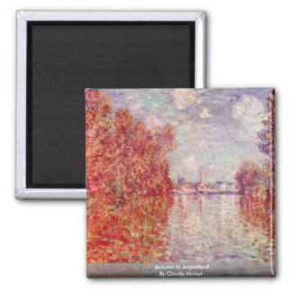 Autumn In Argenteuil By Claude Monet 2 Inch Square Magnet