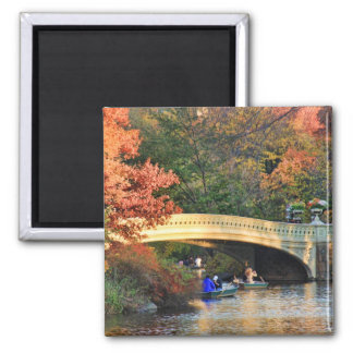 Autumn in Central Park: Boaters by Bow Bridge  #01 2 Inch Square Magnet