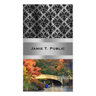 Autumn in Central Park: Boaters by Bow Bridge  #01 Double-Sided Standard Business Cards (Pack Of 100)