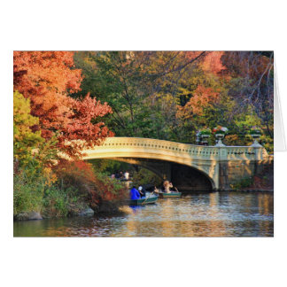 Autumn in Central Park: Boaters by Bow Bridge  #01 Card