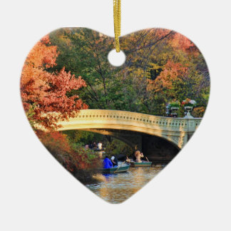 Autumn in Central Park: Boaters by Bow Bridge  #01 Double-Sided Heart Ceramic Christmas Ornament