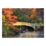 Autumn in Central Park: Boaters by Bow Bridge  #01 Poster