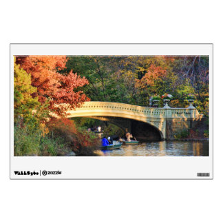 Autumn in Central Park: Boaters by Bow Bridge  #01 Wall Sticker
